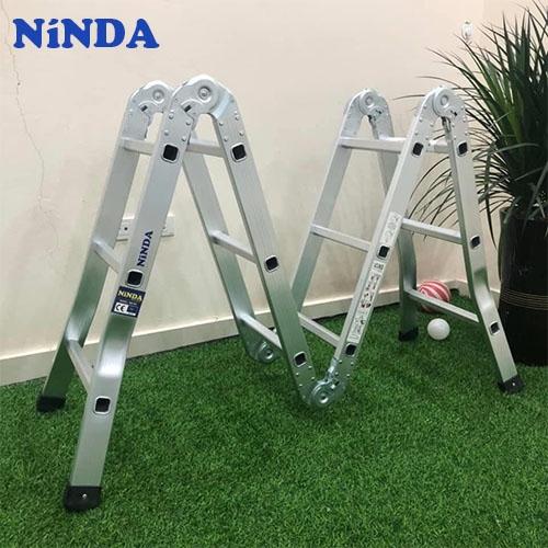 Thang nhôm Ninda ND-403 gấp chữ M, cao 3m7