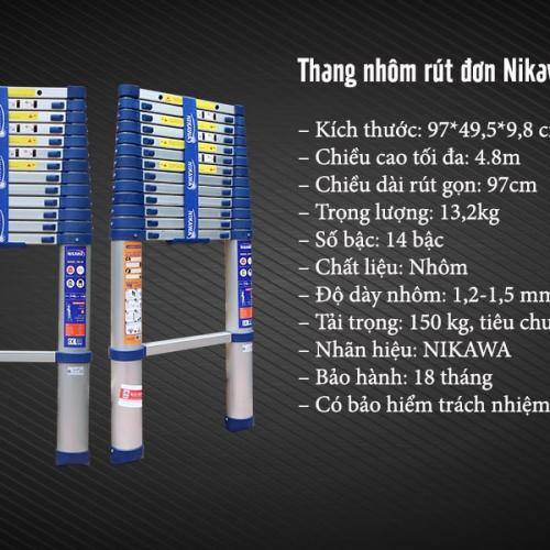 THANG NHÔM RÚT ĐƠN NIKAWA NK-48 NEW