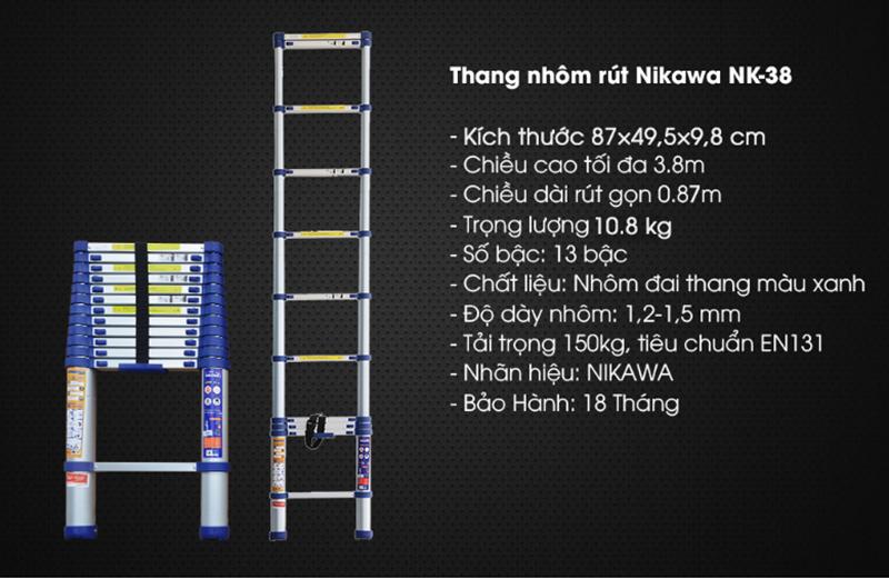 Thang nhôm rút đơn NIKAWA NK – 38 NEW
