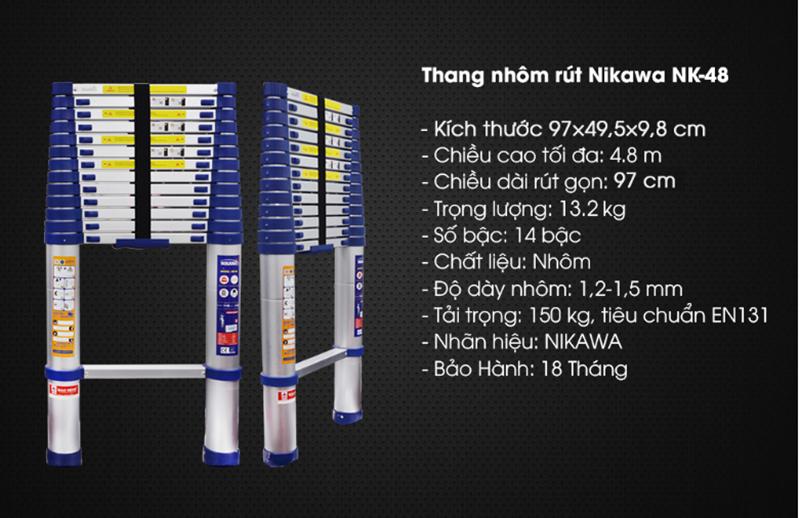 Thang nhôm rút đơn NIKAWA NK – 48 NEW